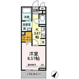 JR東海道本線 三河安城駅 徒歩12分の賃貸アパート 3階1Kの間取り