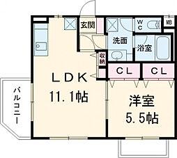 京王相模原線 多摩境駅 徒歩11分の賃貸マンション 2階1LDKの間取り
