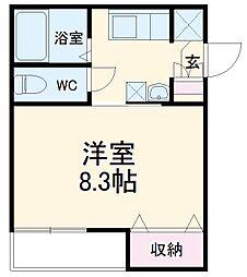 AZEST-RENT桜本町I 2階1Kの間取り