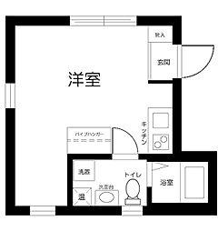 Casa Blanche 武蔵小山 4階ワンルームの間取り