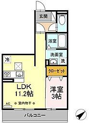 メルベーユK 2階1LDKの間取り