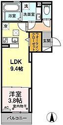 グランドソレイユII 2階1LDKの間取り