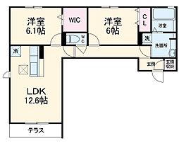 グランディシュロス C棟 2階2LDKの間取り