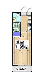 阪急京都本線 西院駅 徒歩11分の賃貸マンション 4階1Kの間取り