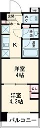 東京メトロ東西線 木場駅 徒歩6分の賃貸マンション 7階2Kの間取り