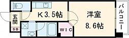 分福弥 2階1Kの間取り