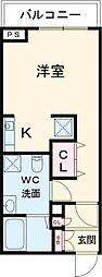 小田急小田原線 千歳船橋駅 徒歩21分の賃貸マンション 5階ワンルームの間取り