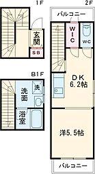 小田急小田原線 成城学園前駅 徒歩5分の賃貸マンション 2階1DKの間取り