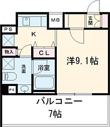 東武東上線 ときわ台駅 徒歩10分の賃貸マンション 9階1Kの間取り