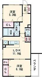 カルム弐番館 2階2LDKの間取り