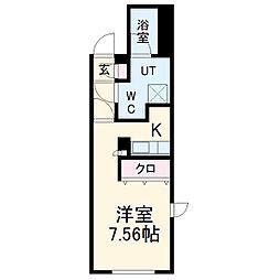 OIKOS東山 5階1Kの間取り