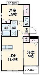 JR博多南線 博多南駅 4kmの賃貸マンション 3階2LDKの間取り