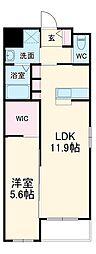 西鉄天神大牟田線 雑餉隈駅 徒歩7分の賃貸マンション 2階1LDKの間取り
