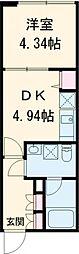 グランドソレイユVIII 2階1DKの間取り