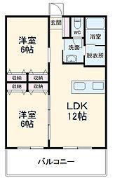 O氏共同住宅 1階2LDKの間取り