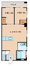 沖縄都市モノレール 小禄駅 徒歩37分の賃貸マンション 4階2LDKの間取り
