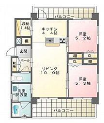 沖縄都市モノレール 赤嶺駅 バス3分 保栄茂西下車 5.2kmの賃貸マンション 2階2LDKの間取り