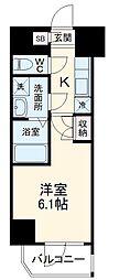 横浜市営地下鉄ブルーライン 阪東橋駅 徒歩4分の賃貸マンション 10階1Kの間取り
