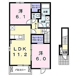 アルエットII 2階2LDKの間取り