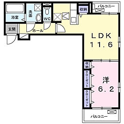 Luminous(ルミナス)I 1階1LDKの間取り
