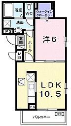 ヴェルチュ 1階1LDKの間取り