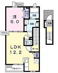アドマーニ 2階1LDKの間取り