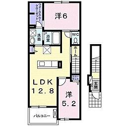 名鉄豊田線 日進駅 徒歩25分の賃貸アパート 2階2LDKの間取り