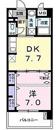 モダンテラス中央 2階1DKの間取り
