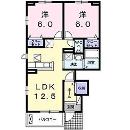 ラ・カーサ・フェリーチェ 1階2LDKの間取り
