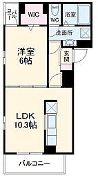 名鉄犬山線 大山寺駅 徒歩6分の賃貸アパート 2階1LDKの間取り
