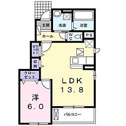 豊橋鉄道東田本線 赤岩口駅 徒歩19分の賃貸アパート 1階1LDKの間取り