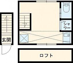 西武新宿線 武蔵関駅 徒歩10分の賃貸アパート 2階ワンルームの間取り