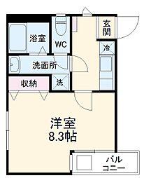 トゥルーメゾン湘南茅ヶ崎 1階1Kの間取り