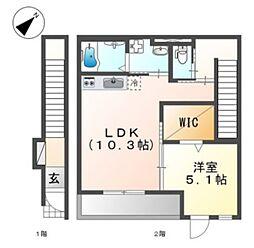 近鉄大阪線 久宝寺口駅 徒歩7分の賃貸アパート 2階1LDKの間取り