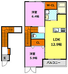 シャトーマリアージュ 2階2LDKの間取り