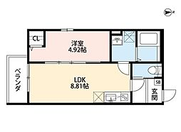JR阪和線 堺市駅 徒歩9分の賃貸アパート 2階1LDKの間取り