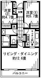 LANAI GRACE KUNITACHI 2階2LDKの間取り