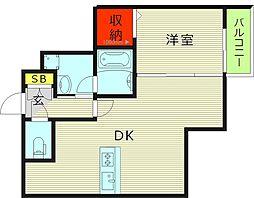 フェブライオ都島本通 6階1DKの間取り