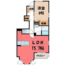 ラッフィナート レジデンス B 1階1LDKの間取り