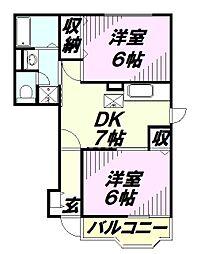 埼玉県入間市牛沢町の賃貸アパートの間取り
