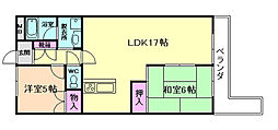 大阪府豊中市上野坂2丁目の賃貸マンションの間取り