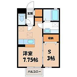 JR東北本線 小山駅 3.4kmの賃貸アパート 1階ワンルームの間取り
