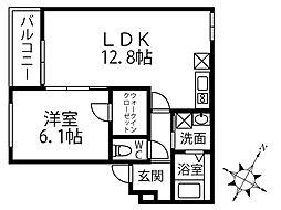 JR阪和線 鳳駅 徒歩9分の賃貸アパート 2階1LDKの間取り