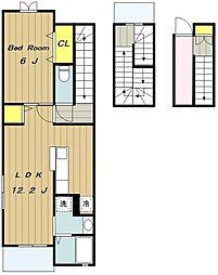 JR相模線 社家駅 徒歩14分の賃貸アパート 3階1LDKの間取り