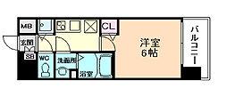 ララプレイスザ・大阪リヴァージュ 2階1Kの間取り
