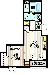 東急東横線 中目黒駅 徒歩10分の賃貸マンション 2階1DKの間取り