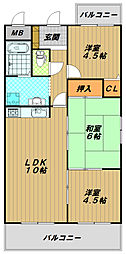 西明石マンション[6階]の間取り