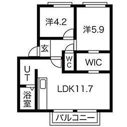 福岡県福岡市早良区野芥5丁目の賃貸アパートの間取り
