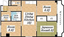 タツミ第6ハイツ本館[2階]の間取り