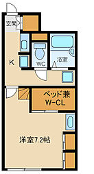 西武新宿線 東村山駅 徒歩19分の賃貸アパート 2階1Kの間取り